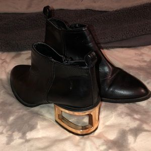 Black Ankle Boots with Copper Heel